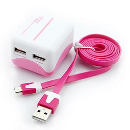i~gota 智慧型3.1A雙充USB充 粉紅