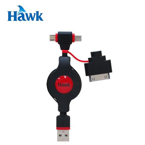 HAWK USB 三用伸縮充電傳輸線 紅