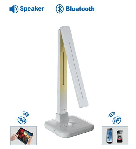 LED 調光氣氛省電護眼檯燈系列 USB 充電功能&藍芽喇叭(白色)
