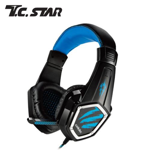 T.C.STAR TCE9000BU 電競頭戴耳機麥克風_藍