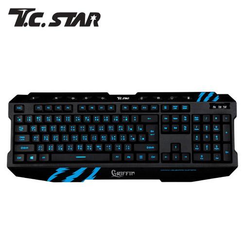 T.C.STAR TCK800 發光電競有線鍵盤-藍