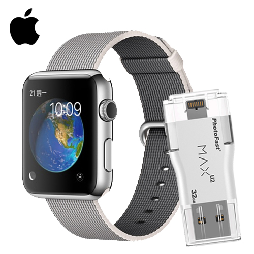 Apple Watch 42 不鏽鋼(珍珠色)+PhotoFast MAX 32G(市價$1799)