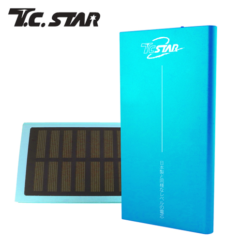 T.C.STAR 7500太陽能超大電流 行動電源 藍