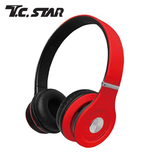 T.C.STAR TCE8767RD 頭戴式耳機麥克風-紅