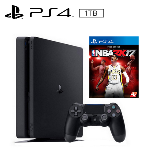 PS4 1TB 薄型主機 黑(NBA 2K17 遊戲同捆)