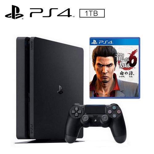 PS4 1TB 薄型主機 黑(人中之龍6 遊戲同捆)