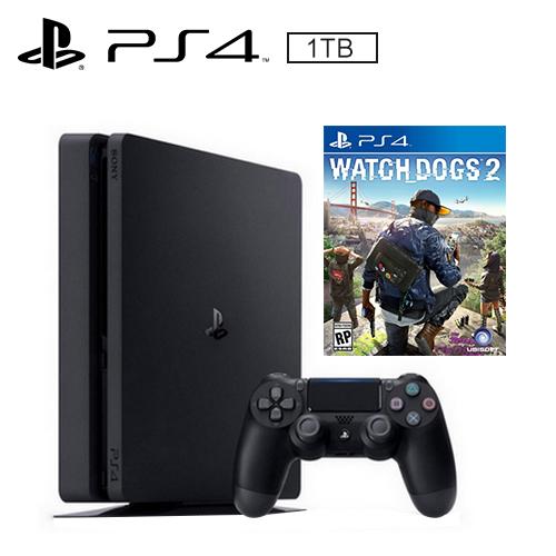 PS4 1TB 薄型主機 黑(看門狗2 遊戲同捆)