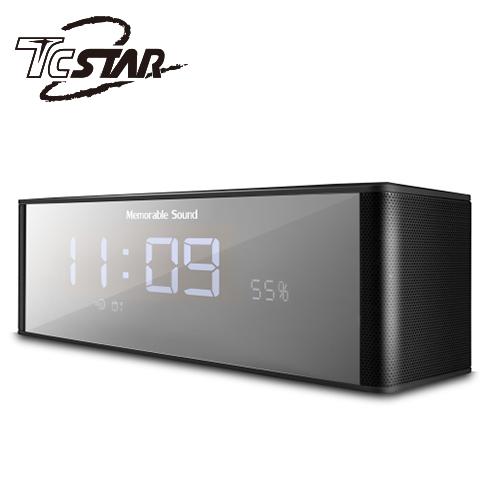 T.C.STAR 电镀镜面插卡带闹钟FM无线蓝牙喇叭 TCS1130BK 黑