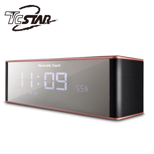 T.C.STAR 电镀镜面插卡带闹钟FM无线蓝牙喇叭 TCS1130RG 橘