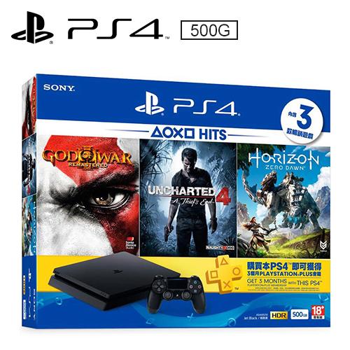 PS4「HITS Bundle 2」主機同捆組 《500G主機+三款遊戲+PS Plus會籍》
