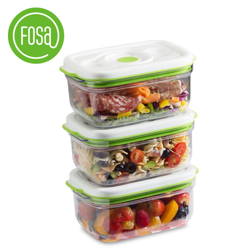 【FOSA|真鮮寶】真空保鮮盒/方形/1450ml/3個入 31450