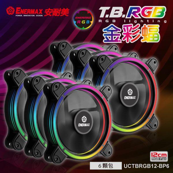 ENERMAX 保銳 12公分 電腦風扇 T.B RGB 金彩蝠 UCTBRGB12-BP6(六顆入)