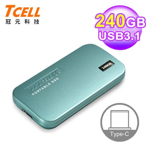 【TCELL 冠元】 TPS100 240GB Type-C 行動固態硬碟  湖水藍