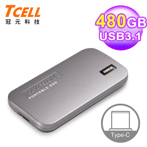 【TCELL 冠元】 TPS100 4800GB Type-C 行動固態硬碟 鈦金灰