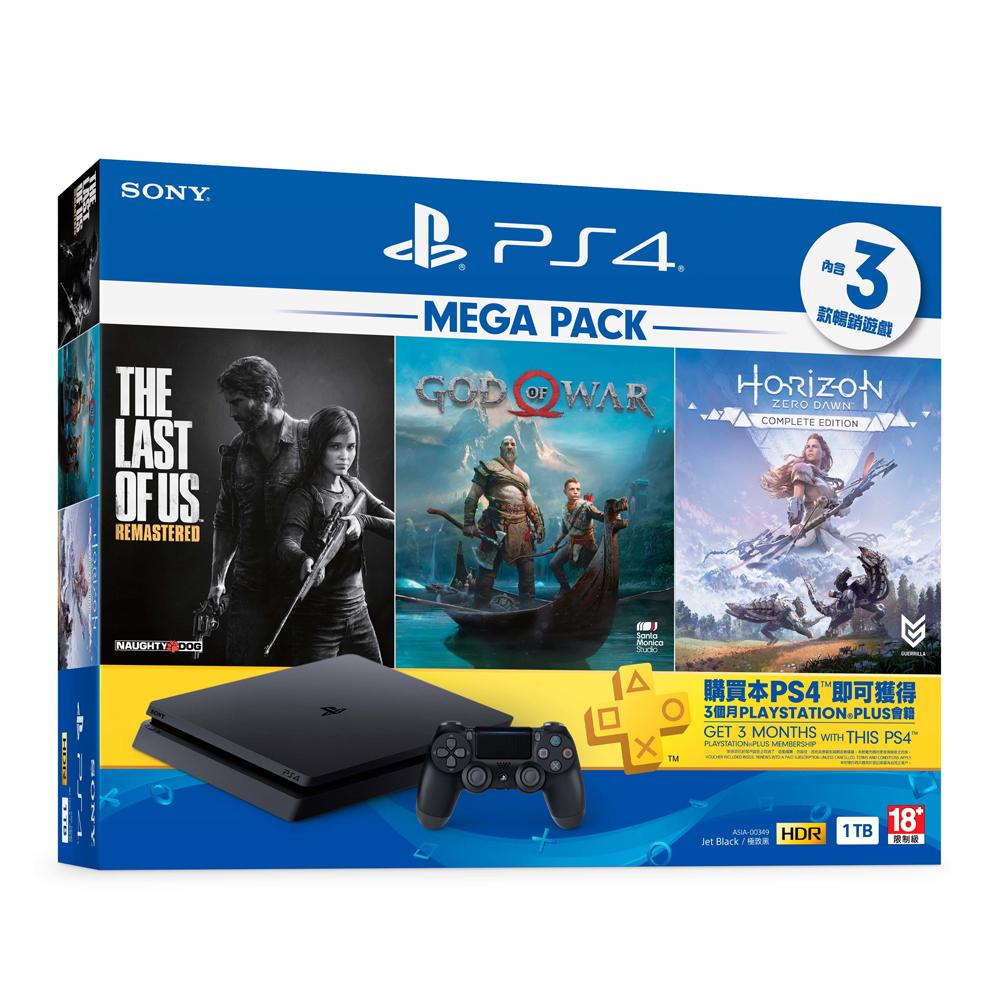 【PS4主機】「MEGA PACK」同捆組 極致黑 1TB主機