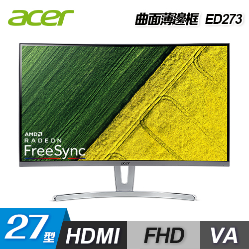 Acer 宏碁|ED273 27型 VA曲面 薄邊框電腦螢幕