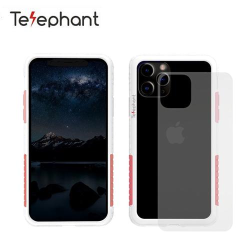 【Telephant 太樂芬】iPhone 11 Pro 抗汙防摔手機殼 白+粉