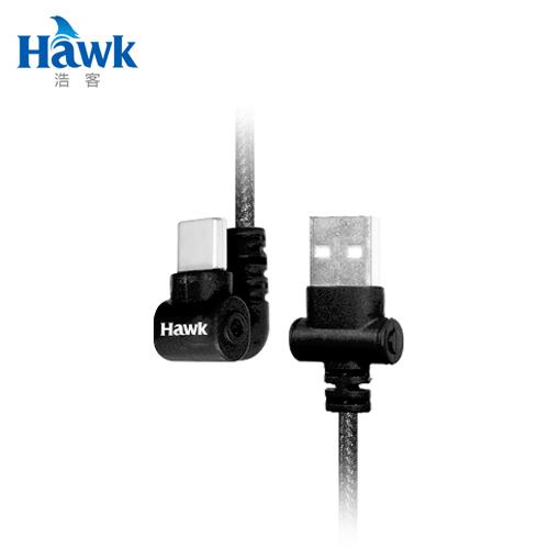 【Hawk 浩客】TYPE-C 180°手遊充電傳輸線(黑)