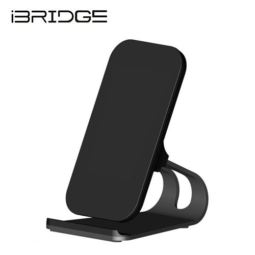 【iBRIDGE】立架雙線圈無線充電盤(黑)