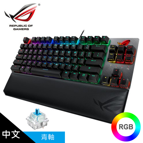 【ASUS 華碩】ROG Strix Scope TKL Deluxe RGB 機械式電競鍵盤 (中文青軸)