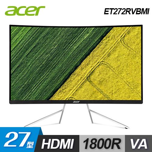 【Acer 宏碁】ET272RVBMI VA曲面護眼美型螢幕
