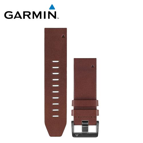 【GARMIN】QuickFit (22mm) 咖啡棕皮革錶帶