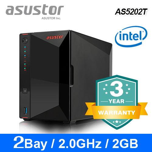 【asustor 華芸】AS5202T 升級版 2Bay NAS網路儲存伺服器(不含硬碟)