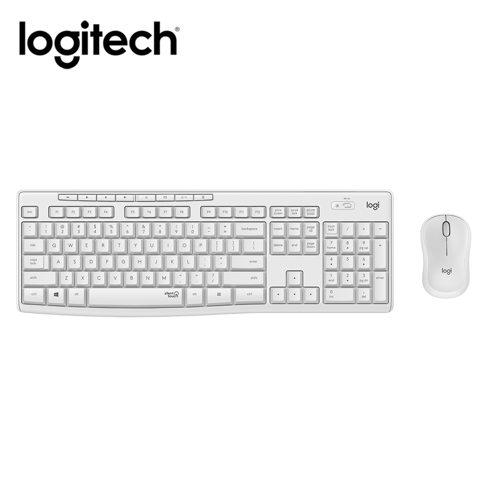 【Logitech 羅技】MK295 靜音鍵鼠組-珍珠白