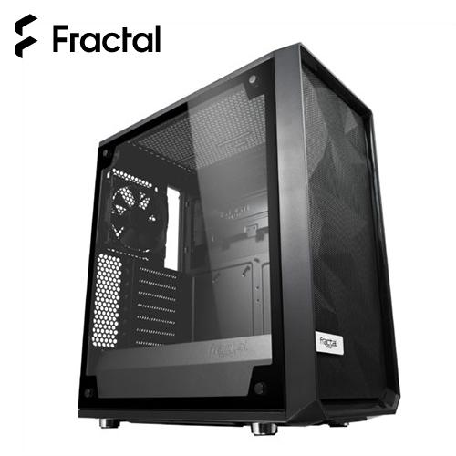 【瑞典 Fractal Design】Meshify C - TG 淺色鋼化玻璃透側電腦機殼 黑色