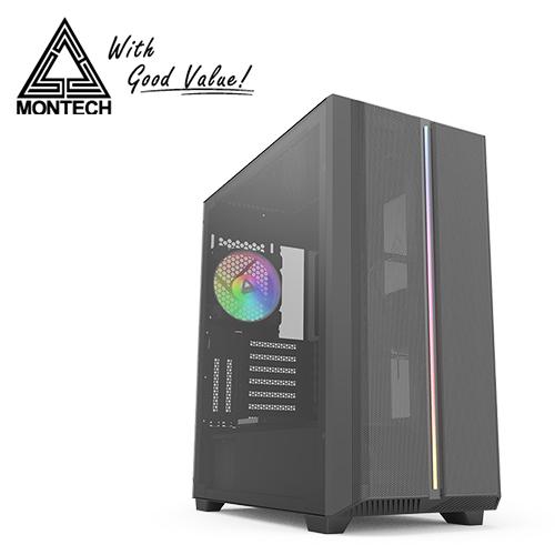 【Montech】SKY ONE 玻璃 ARGB 玻璃透側機殼-黑
