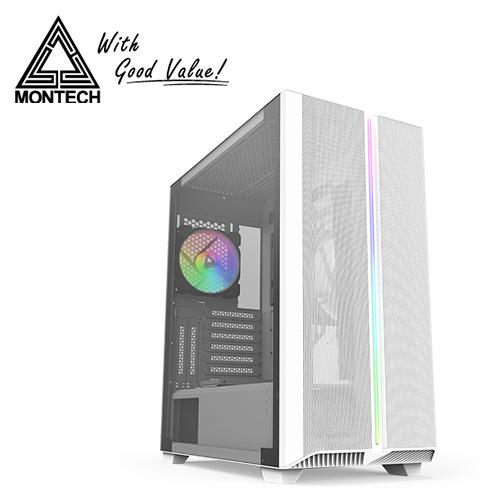 【Montech】SKY ONE 玻璃 ARGB 玻璃透側機殼-白