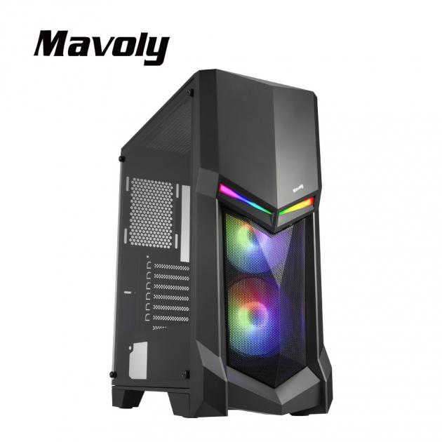 【Mavoly 松聖】酪梨 USB3.0 ARGB 玻璃透側電腦機殼