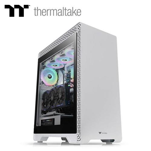 【TT thermaltake 曜越】S500 強化玻璃中直立式機殼-雪白版