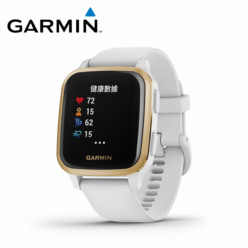 【GARMIN】VENU SQ GPS 智慧腕錶-純白香檳金