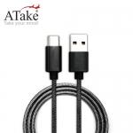 ATake A 對 Type C 金屬編織線 1米 黑色