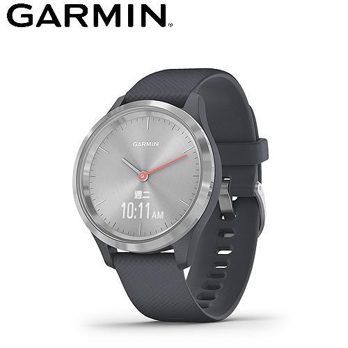 【GARMIN】vivomove 3S 指針智慧腕錶(岩藍冷霜銀)