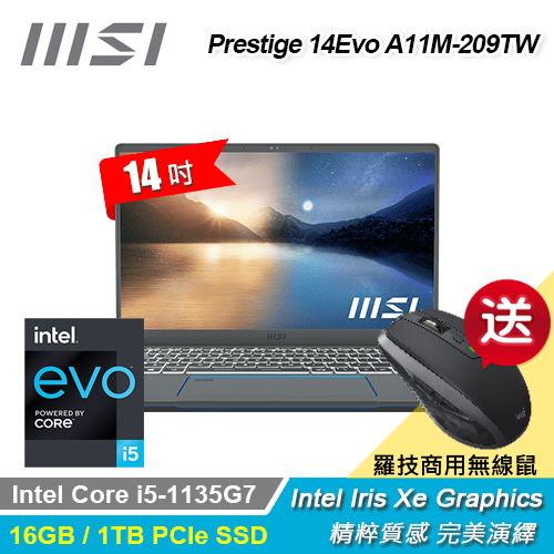 【MSI 微星】Prestige 14 Evo A11M-209TW 14吋 創作者筆電 石墨灰